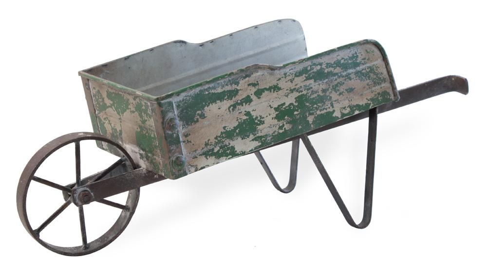 Wheelbarrow Green Metal,HHC18435