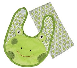 Bib/Burp Set Frog Freckles