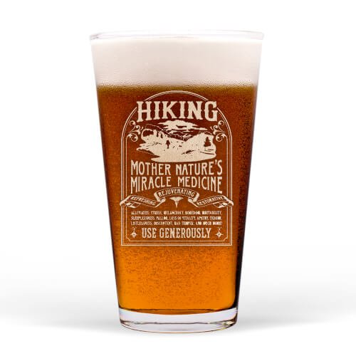 Pint Glass Hiking Cure,460 PINT