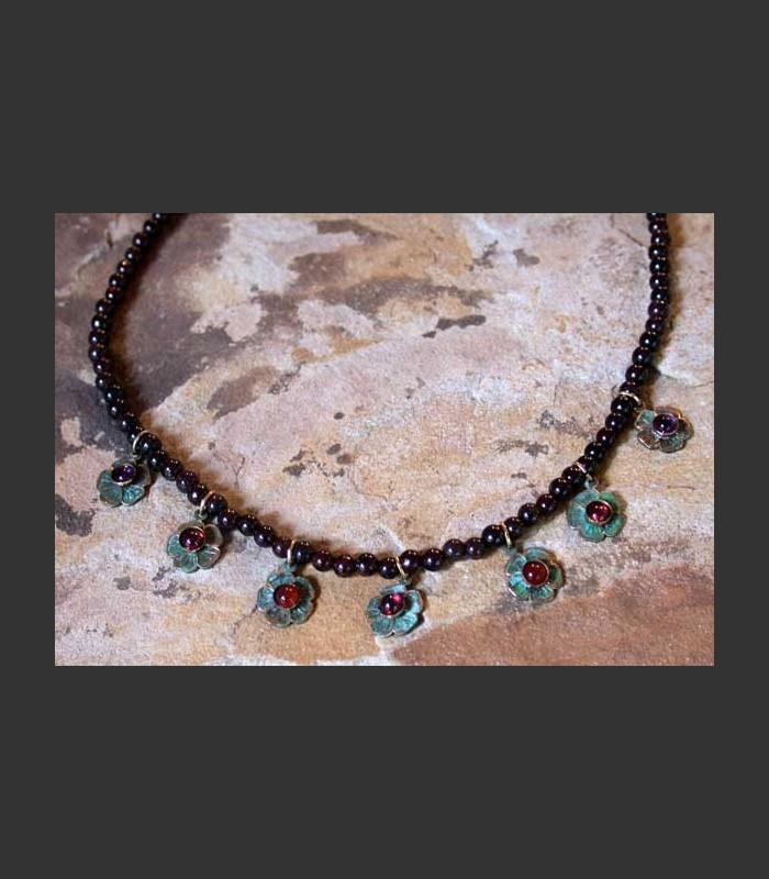 Flower Button on Garnet Necklace,NAP6N
