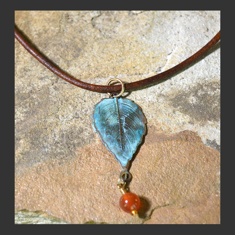 Leaf Pendant w/ Stone,NAP71PD-GA,CA,AM