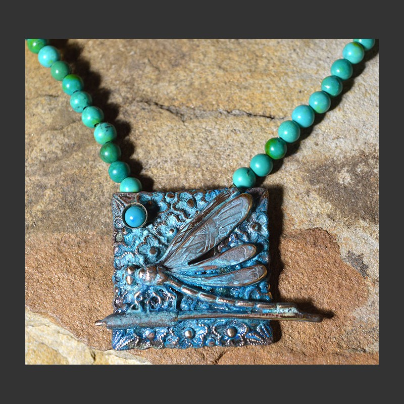 Dragonfly Necklace on Turquoise Bead,DRP275N TU