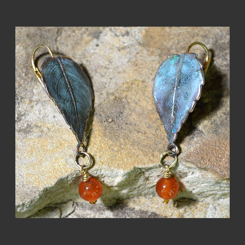 Leaf w/ Stone Dangle Earring,NAP713E - CA,GA,AM