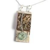 Necklace Birch Bark/Roman Glass,AMN20