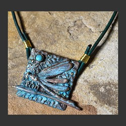 Dragonfly Pendant on Leather